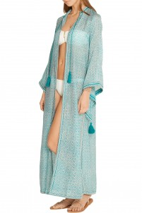 Fatima embroidered printed cotton and silk-blend kaftan