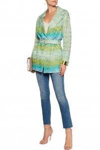 Belted crochet-knit jacket
