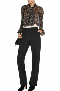 Two-tone crepe straight-leg pants
