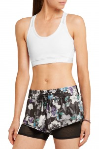 Mesh-paneled stretch-jersey sports bra