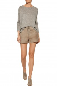 Lace-up suede shorts