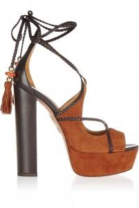 + Poppy Delevingne Hero Plateau suede and leather platform sandals