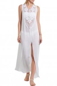 Lana crochet-paneled silk-georgette dress