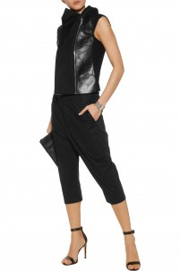 Paneled leather, wool and shell vest