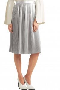 Plissé silk-blend lamé skirt