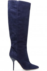 Drape suede knee boots