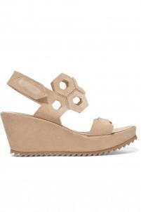 Fermina cutout suede wedge sandals