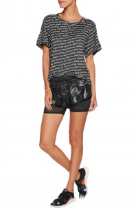 Printed marl stretch-jersey T-shirt