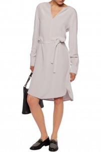 Peggy belted washed-silk midi dress