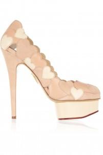 Love Me heart-appliquéd leather and suede pumps