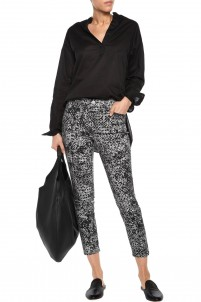 Mid-rise printed skinny jeans