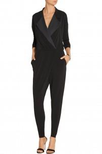 Bonnia silk-trimmed stretch-crepe jumpsuit