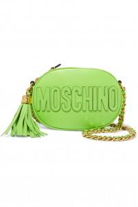 Appliquéd leather shoulder bag