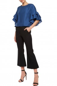 Ruffle-trimmed washed-silk top