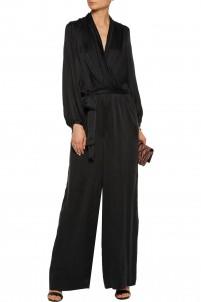 Wrap-effect tie-waist washed-silk jumpsuit