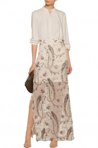 Metallic appliquéd silk-blend chiffon maxi skirt