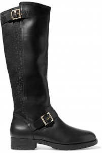 Nadia buckled leather and canvas knee boots
