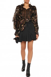 Fluted stretch-neoprene mini skirt