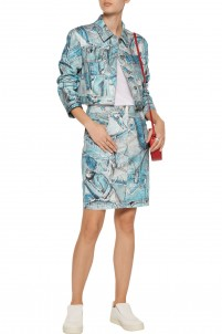 Patchwork-effect printed stretch-denim skirt
