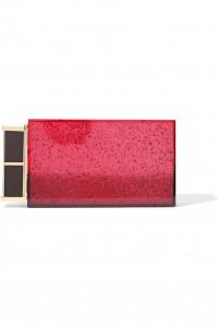 Lipstick glittered Plexiglas® clutch