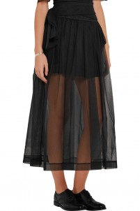 Bow-embellished ruched tulle skirt