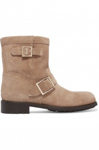 Buckled textured-nubuck boots