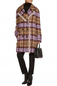 Checked faux shearling coat