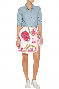 Wrap-effect printed cotton-terry mini skirt