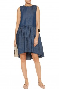 Pleated cotton-blend chambray dress