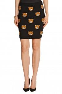 Bear-intarsia wool mini skirt