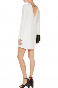 Chain-embellished stretch-crepe mini dress