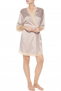 Lace-trimmed stretch-silk satin robe