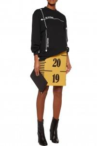 Printed wool-blend skirt