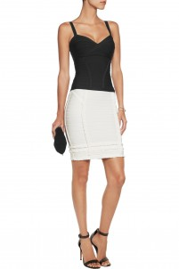 Ruffle-trimmed ribbed-knit mini skirt