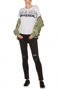 Mid-rise distressed skinny jeans