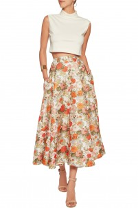 Eleanor floral-print basketweave midi skirt