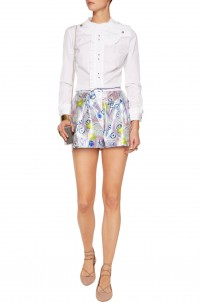 Geo printed silk mini shorts