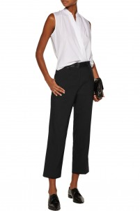 Cropped satin-trimmed wool-blend straight-leg pants