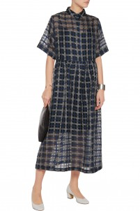 Florian checked cotton and silk-blend organza midi dress