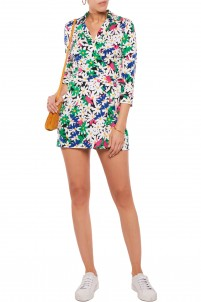 Celeste printed cotton and silk-blend wrap-effect playsuit