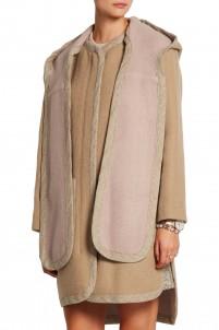 Brushed wool-blend hooded coat