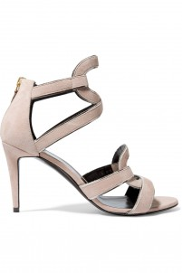 Metallic leather-trimmed suede cutout sandals