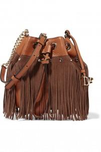 Vintage Boho Disco suede-fringed textured-leather bucket bag