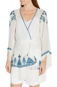 Kumari embroidered silk-crepe jacket