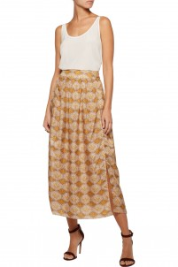 Belle pleated printed silk midi skirt
