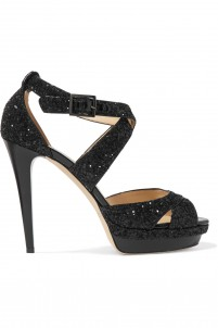 Sequined patent-leather sandals