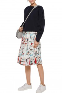 Pleated printed crepe de chine skirt