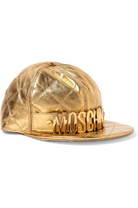 Embellished metallic quilted leather cap