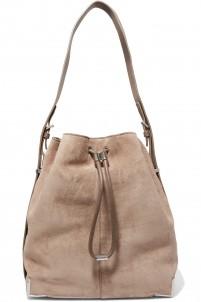 Prisma leather-paneled suede shoulder bag