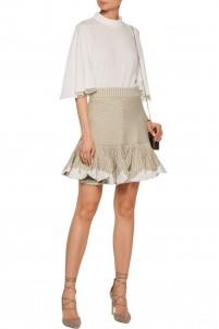 Master Rosette embroidered printed twill mini skirt